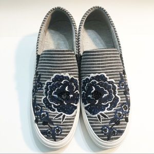 Nine West Striped Floral Embroidery Beaded Sneaker